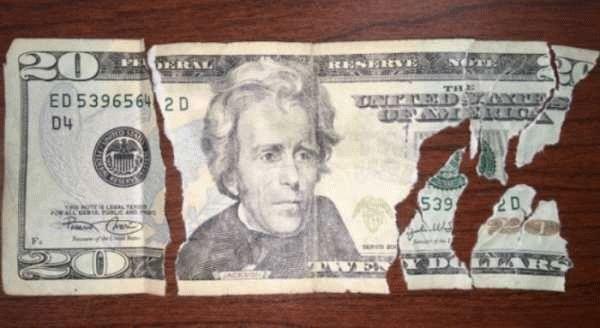 Можно ли обменять половину купюры в банке